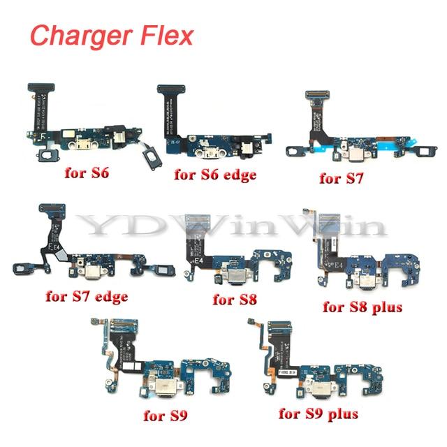 1Pcs USB Charger Charging Dock Port ConnectorสายเคเบิลFlexสำหรับSamsung S6 S7 Edge S8 S9 Plus G920 G925F g930F G935F G950 G955F