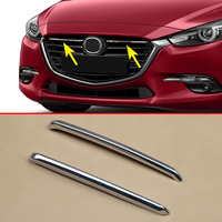 Front Hood Grille Trims Cover For 2017 2018 Mazda 3 Mazda3 BN High gloss Chrome 2Pcs/Pair Grill Trims Exterior Accessories