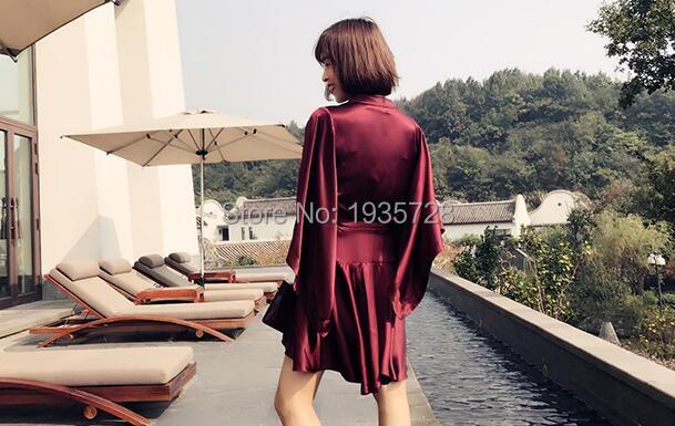 Ceinture Kimono Avec Wrap Suédé Asymétrique Robe Avant Mini Volants 2018 Femme Luxe De Plissée Bourgogne À Manches Soie U4UTwz