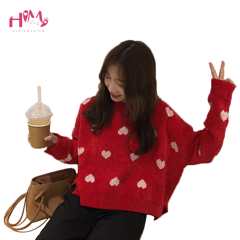 Hiver femmes tricoté pull o-cou lâche coeur motif Crochet pulls chandails Style coréen femmes filles chandails pour étudiant