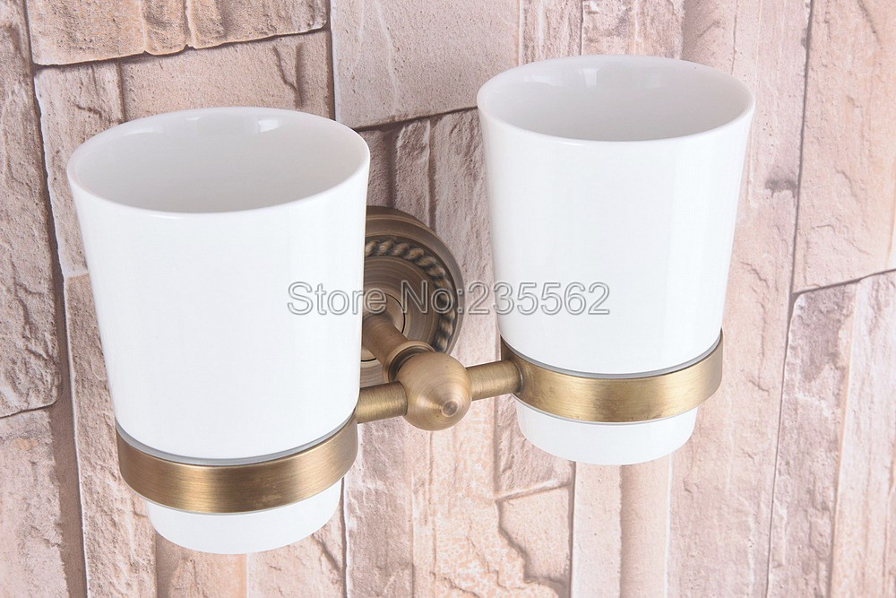 Antique Brass Wall Mount Toothbrush Holder with Double Ceramic Cups Bathroom Accessories lba224