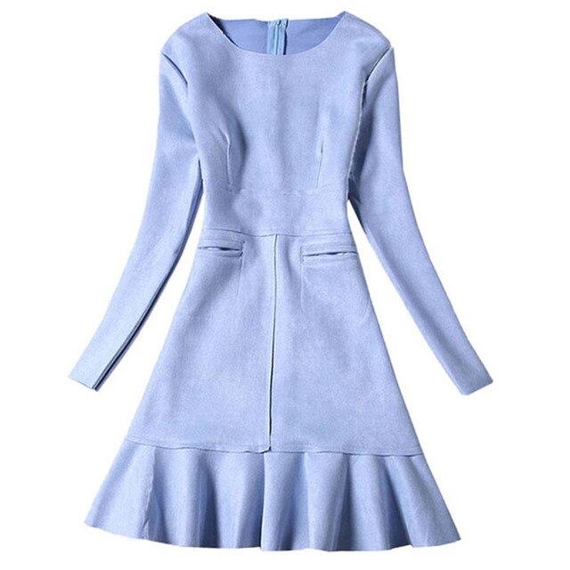 Winter Women Suede Dress Autumn Long Sleeve Pink Dresses 2016 Fashion New Party Dresses Womens Faux Suede Slim Vestidos