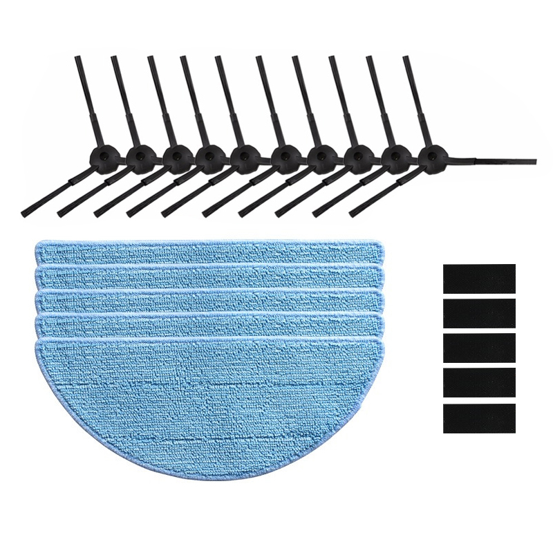 10x Side brush +5x Mop Cloth+5x magic paste for chuwi ilife V5S V5 V5S PRO X5 ILIFE V3S V3 V3S PRO robot vacuum cleaner parts inmotion v3s