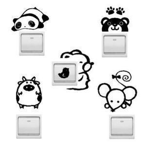 Switch sticker Jack stick animal wall stickers wallpaper creative home decorative cartoon switch combo set