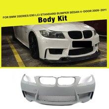 PU + Carbon Fiber Racing Front Bumper Body Kits Lip for BMW 3 Series E90 LCI Standard Bumper Sedan 4-Door 2009 - 2011