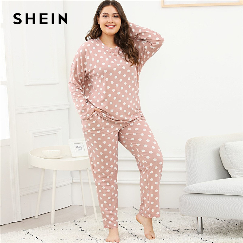 SHEIN Plus Size Polka Dot Women Pink   Pajama     Set   Nightwear Suits Long Sleeve Tops With Long Pants Autumn Winter Sleepwear   Set