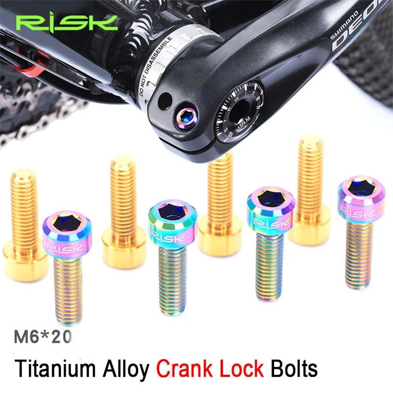 RISK 4pcs M6 * 20mm تیتانیوم آلیاژ پیچ و مهره برای قفل دوچرخه میل لنگ / گیره ترمز ثابت پیچ کوه MTB دوچرخه دوچرخه Crank Crank پیچ M6x20