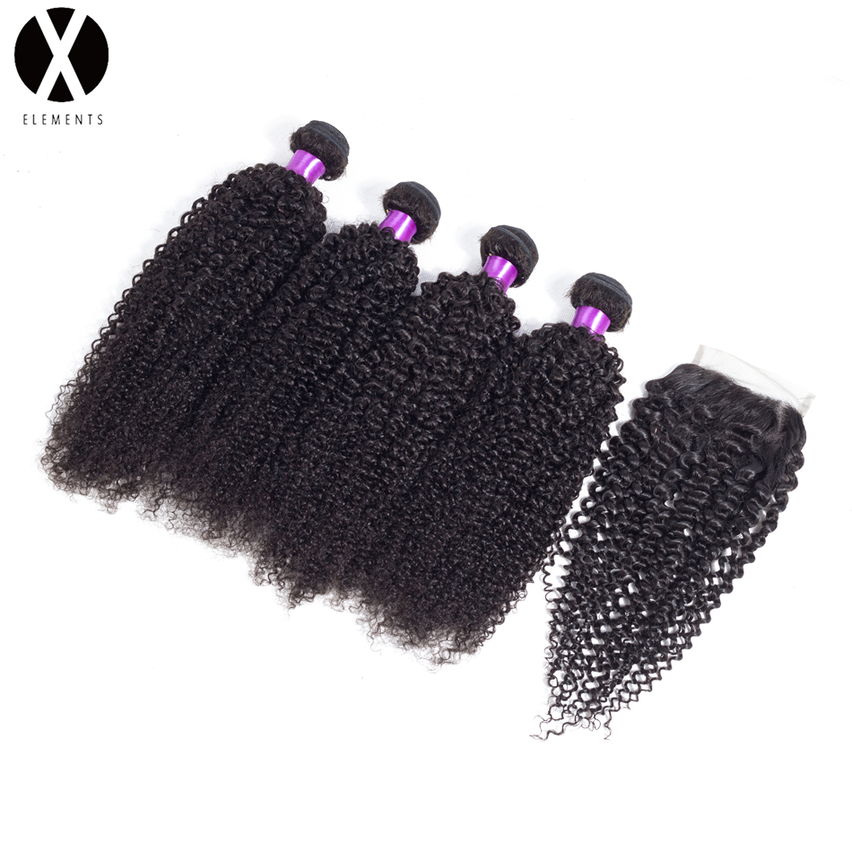 X-Exements Hair Bundles With Closure 4 Bundles Kinky Curly Human Non-Remy Peruvian Hair Weaves Natural Color Hair Extensions