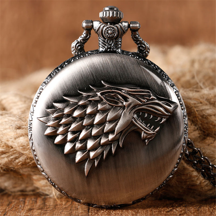 2017 Hot Necklace Watches Gray Tone Honorable Stark House Wolf Quartz Pocket Watch Pendant Game of Thrones Theme Long Chain  (8)