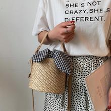 Women Straw Hand Woven Shoulder Bag Korean Style Casual Fashion Braided Handbag Bucket Messenger Crossbody Bag Beach Summer Bags