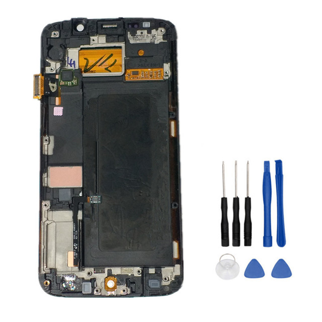 New Tested LCD For Samsung Galaxy S6 Edge G925 G925F SM-G925F Display Touch Screen with frame Digitizer Assembly+Tools