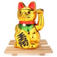 Новый стильный Лидер продаж ЗОЛОТО Призыва Размахивая Лаки кошки рисунок перемещение рычага китайский фэн-шуй украшения