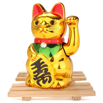 New Stylish Top Selling Gold Beckoning Waving Lucky Cats Figure Moving Arm Chinese Feng Shui Decoration