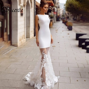 4ef69d13439 Висенте Горячая Стильный белый длинное платье Аппликации дизайн ...