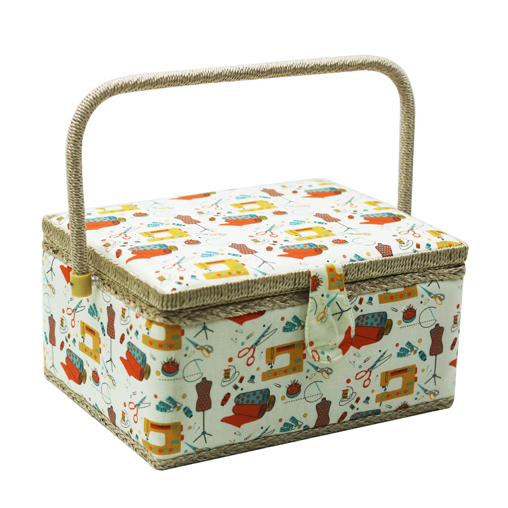 Handmade Sewing Basket With Sewing Kit Accessories Fabric Crafts Needle Thread Storage Box Christmas Box Gifts 30.5*23*16cm