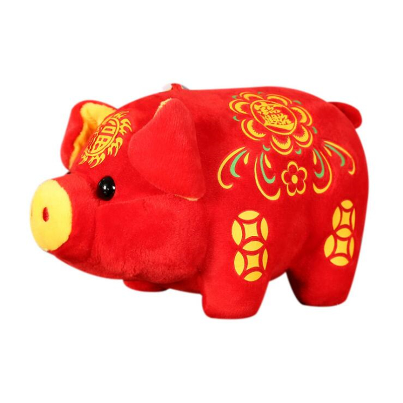 2019 Pig Year Kawaii China Mascot Pig Plush Toy Pig With Fu Embroidery For Fortune Chinese