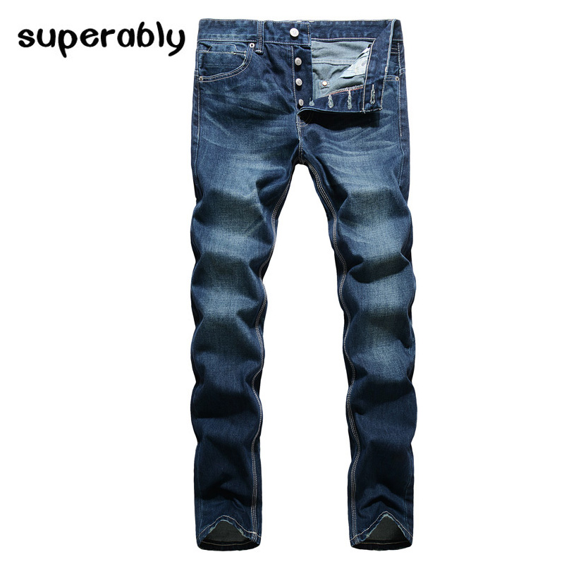Dark Blue Classic Style Men Jeans Straight Fit Denim Buttons Jeans Mens Pants Full Length European Retro Vintage Fashion Jeans napapijri guji check dark blue