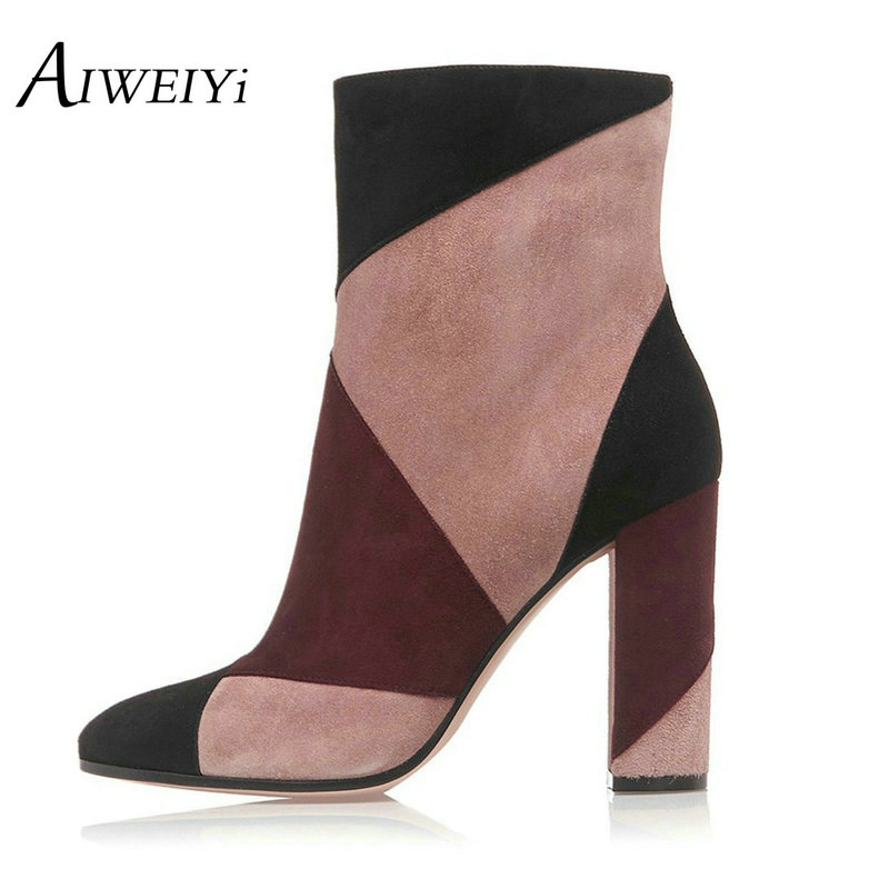 ФОТО AIWEIYi Womens Multi Color Chunky High Heels Ankle Boots Nubuck Leather Women's Ankle Boot Fashion Short Martin Shoes