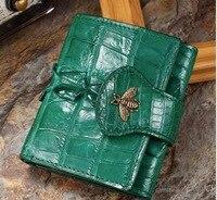 Реального крокодиловой кожи короткий бумажник большой бренд пчелы карты сумка кошелек дамы клатч