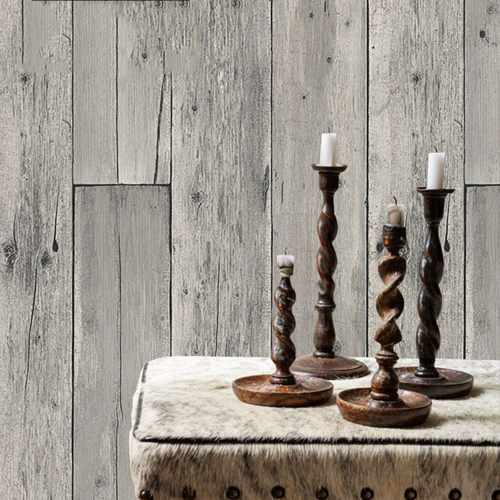 Haok home pvc vinyl vintage faux wood panel tree 3d - Faux wood plank wallpaper ...