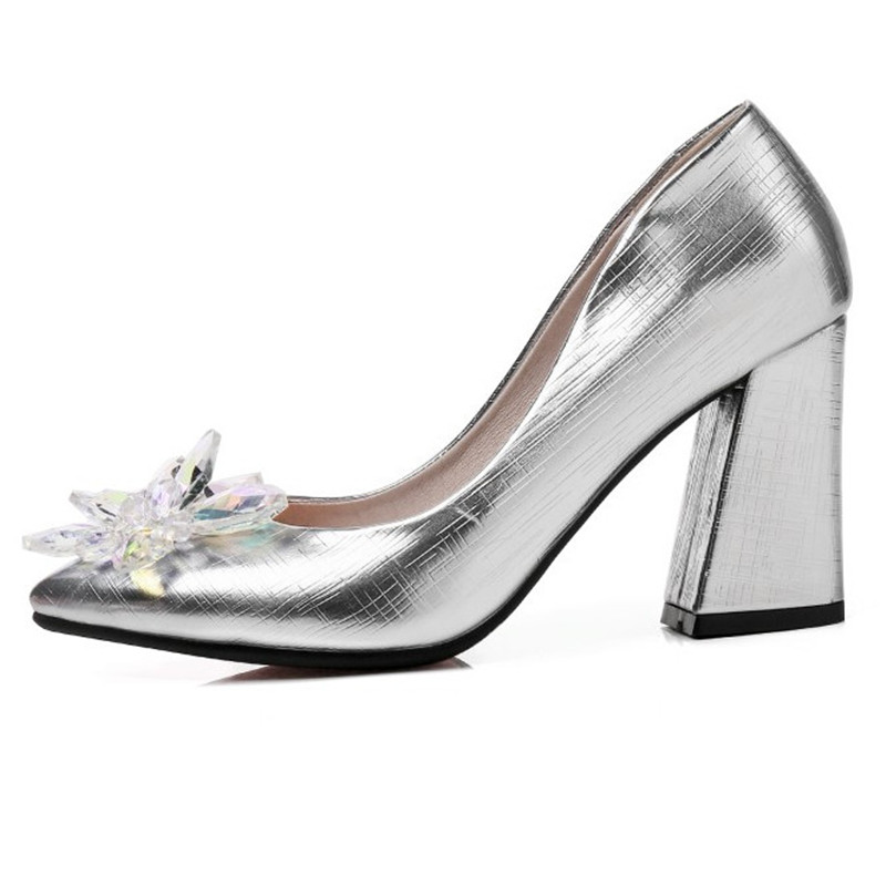 Large Size Rhinestion Wedding Shoes For Women Fashion Pointed Toe Ladies  Shoes Thick Heel Bridal Shoes Pumps-in Women s Pumps from Shoes on  Aliexpress.com ... 02d8b4eacb2f