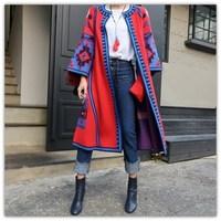 2018 ethnic viento Cardigan invierno colorido suéter largo ocasional flojo mujer modelo geométrico imprimir Cardigan largo