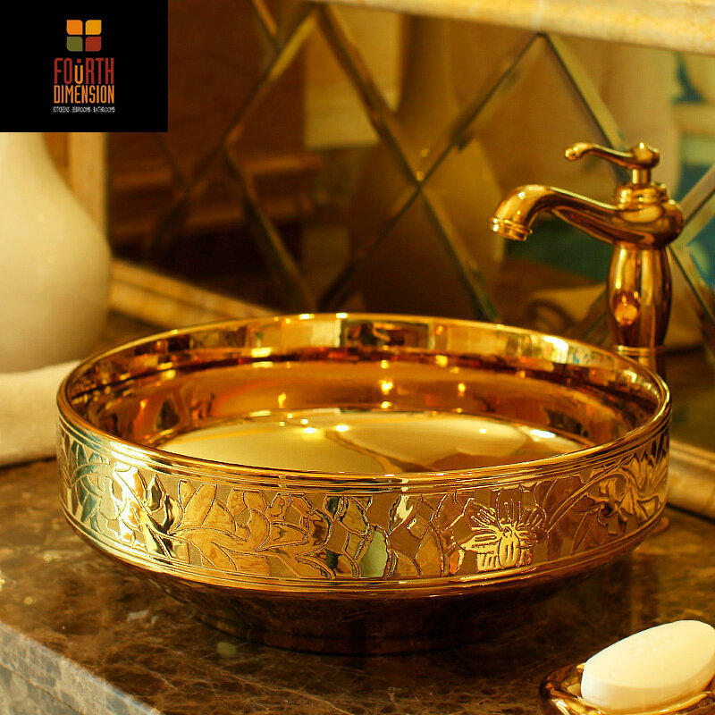 Golden Engraved Artistic Porcelain Countertop And Semi Counter Sink  Washbasin Ceramic Bathroom Sink(China ( Part 39