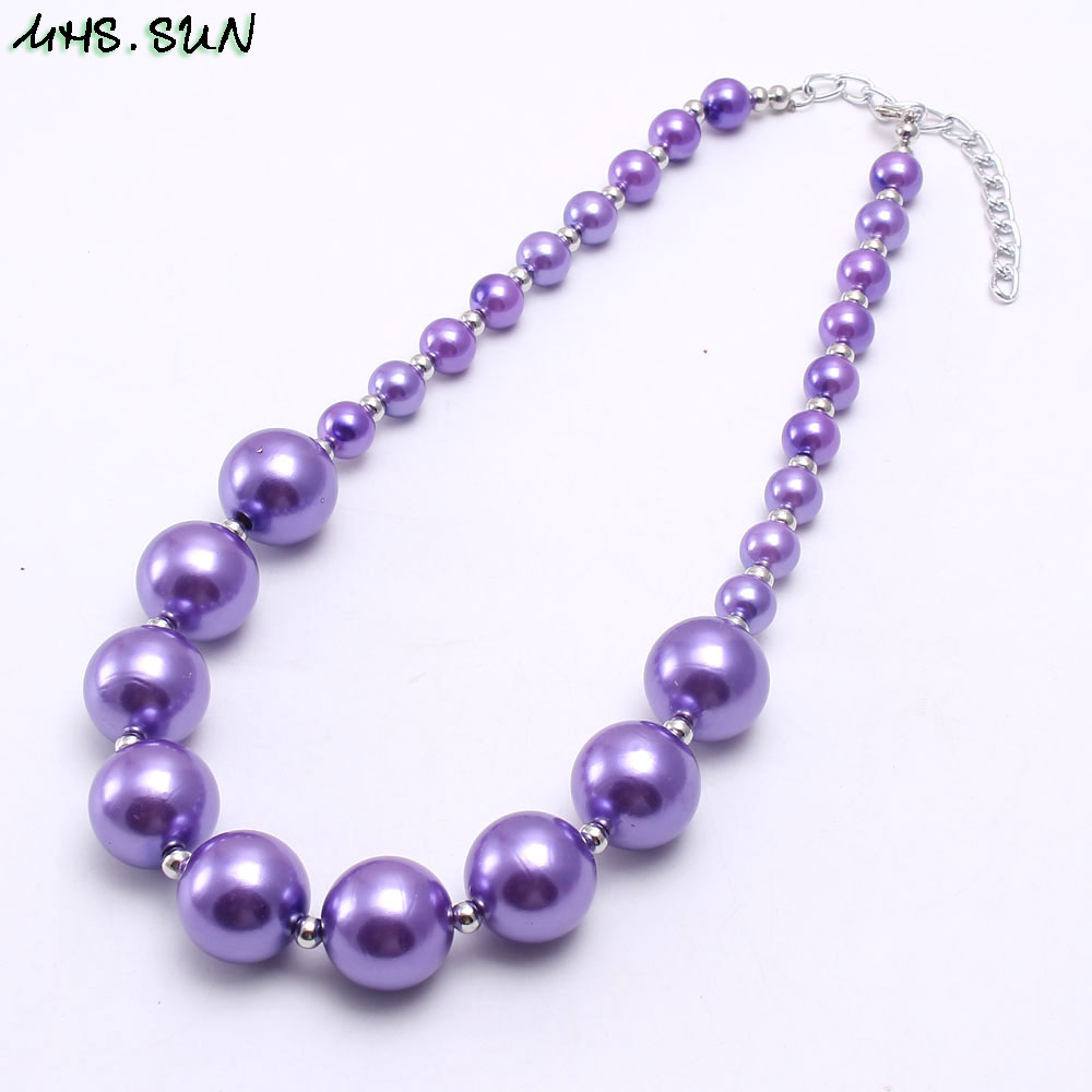 BN541-1 (4),$2.2,60g.Kids girls chunky beads necklace pearl chunky bubblegum necklace JPG