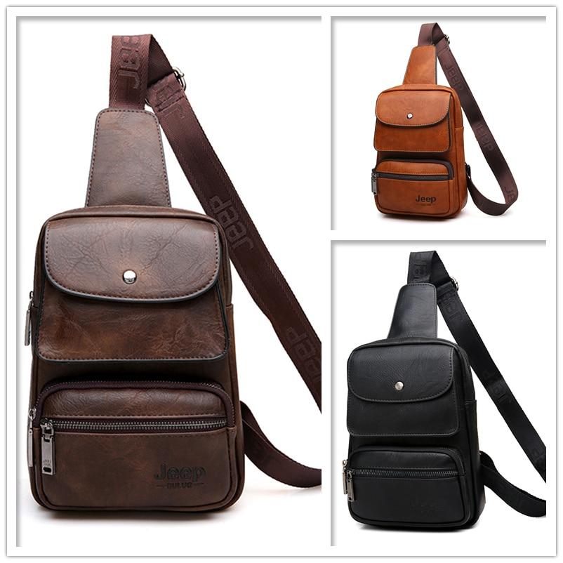 Image 3 - JEEP BULUO Famous Brand Mens Sling Bag For 9.7 iPad Shoulder Men  Leather Chest Pack Crossbody Bag for Man Big Zize High Qualitymen  sling bagshoulder bag mensingle shoulder bag
