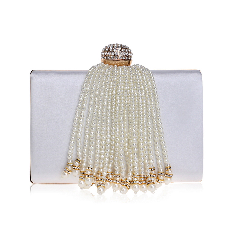 Las Bridal Wedding Wallet Purses Pearl Beaded Tassel Women Evening Party Jeweled Handbags Clutches Beading Bag In Top Handle Bags From Luggage