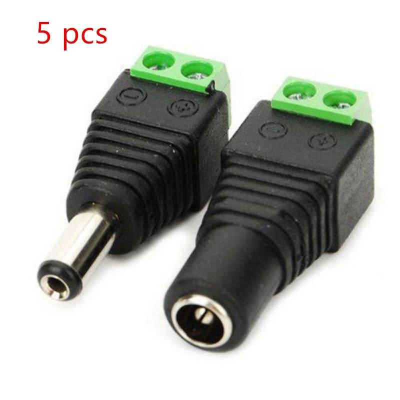 5 uds conector hembra + 5 uds macho DC 2,1*5,5mm conector de Cable adaptador de toma de corriente para tira de luz led 3528/5050/5730
