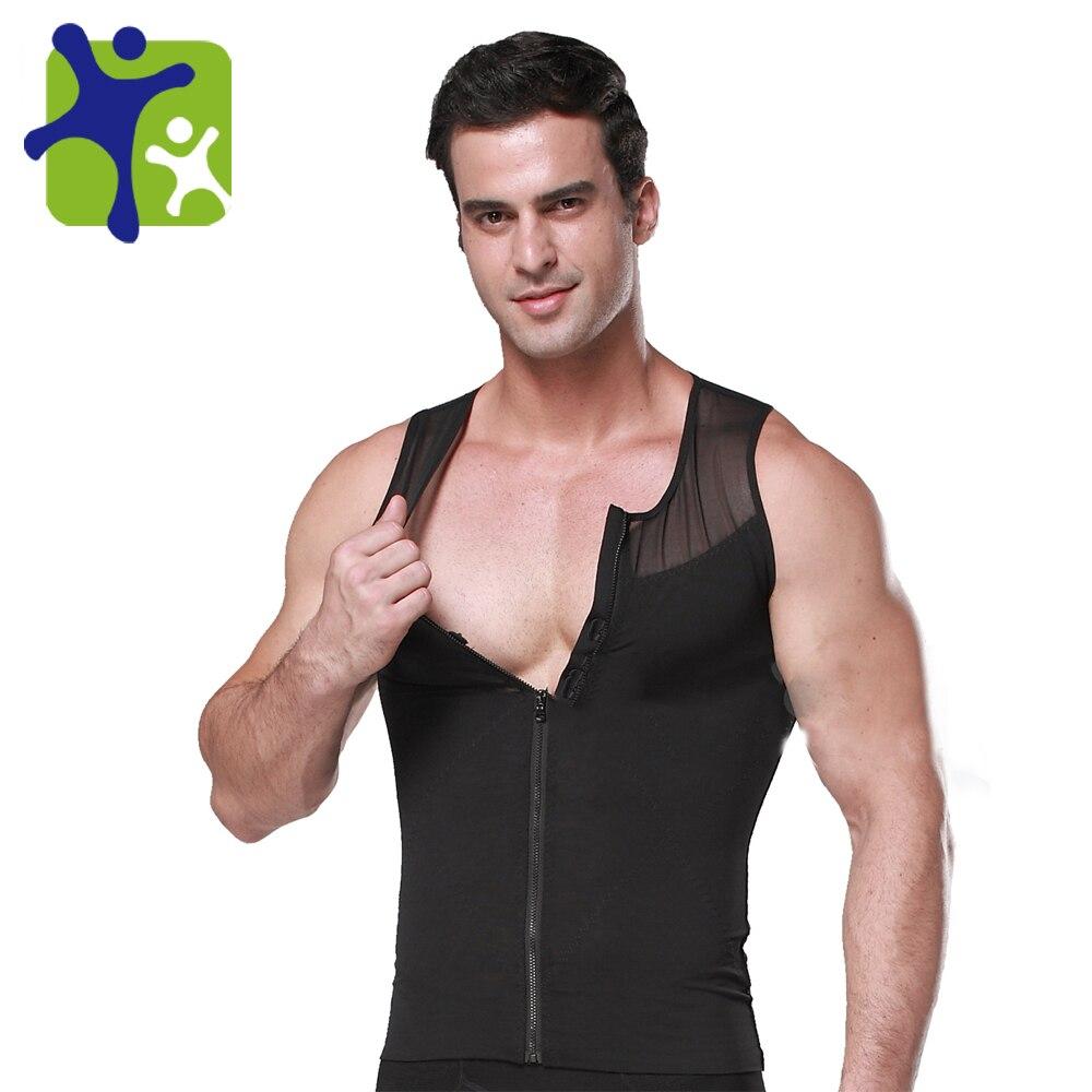 Male with zipper body shaper vest,man sliming thin vest 388