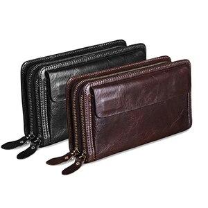 Image 5 - Мужской длинный клатч MISFITS, деловой вместительный кошелек из натуральной воловьей кожи с двумя молниями и кармашком для телефона