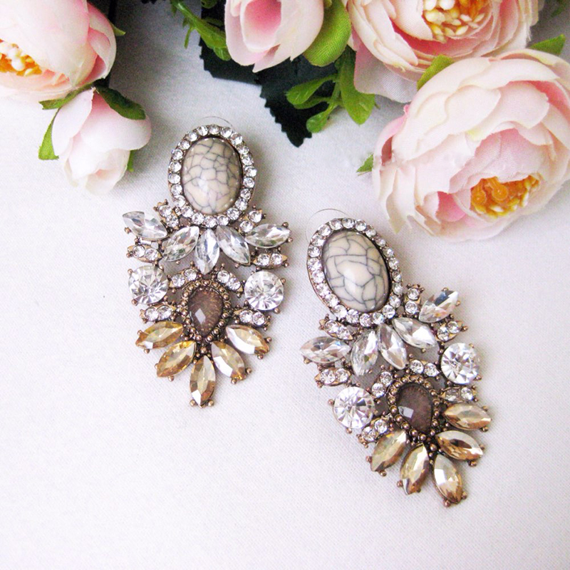Dvacaman Jewelry Wholesale Hanging-Earrings Wedding Party Big Crystal Trendy Women GG40