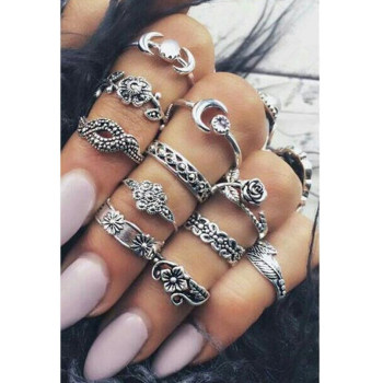 Boho Vintage Punk Womens Antique Ring Set