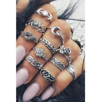 Boho Vintage Punk Womens Antique Ring Set