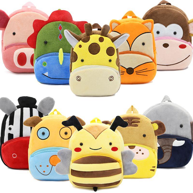 2018 New Children School Bags for Girls Boys Plush Children Backpacks Kindergarten 3D Cartoon Animal Kids Backpack for 2-5 years