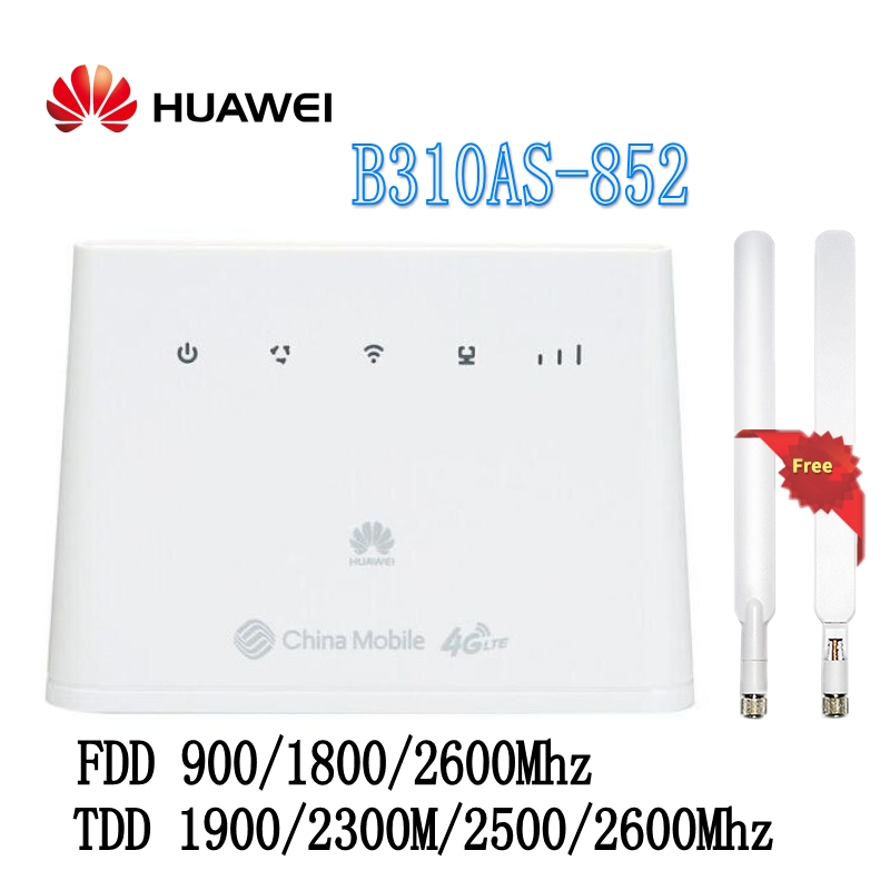 Unlocked Huawei B310As-852 LTE FDD 900/1800/2600Mhz TDD 1900/2300M/2500/2600Mhz Mobile Wireless VOIP Router plus ANTENNA