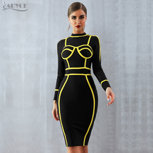ADYCE Summer Women Bandage Dress Vestidos Verano 2020 Sexy Turtleneck Long Sleeve Bodycon Club Dress Mini Celebrity Party Dress