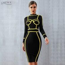 ADYCE 夏の女性の包帯ドレス Vestidos Verano に 2020 セクシーなタートルネックロングスリーブボディコンクラブドレスミニセレブパーティードレスドレス