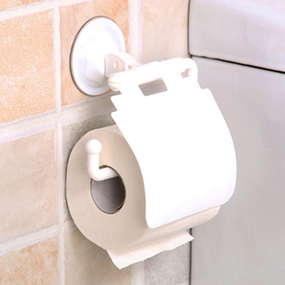 Wall Mounted Sucker Toilet Paper Holder Seamless Waterproof Suction Cup Paper Towel Rack Dispenser Plastic Toilet Roll Rack