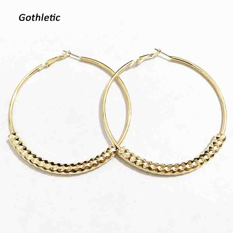 Gothleitc 2018 Fashion 65MM Textured Brass Tube Hoop Earrings for Women Basketball Wives Party Jewelry