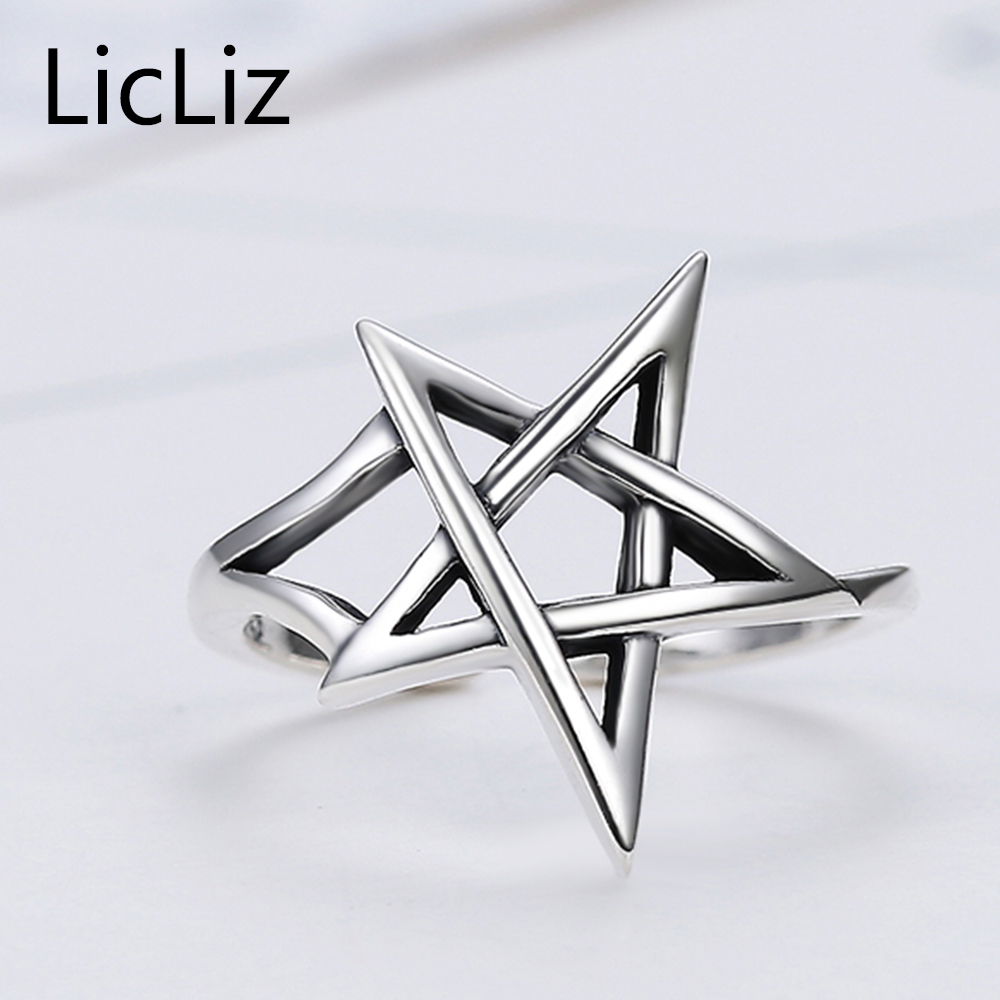 LicLiz Trendy 925 Sterling Silver Star Adjustable Open Cuff Rings for Women Hollow Pentagram Ring Band Antique Jewelry LR0324 in Rings from Jewelry Accessories