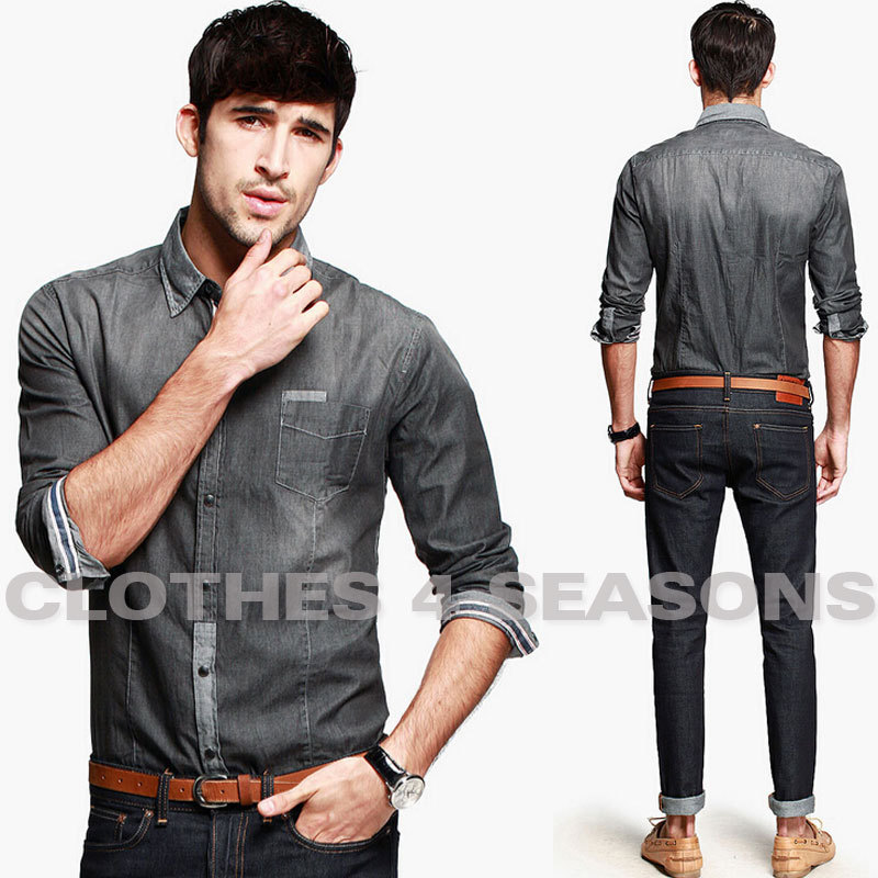 Real vintage snug denim shirt men fashion imported clothing jeans shirt men elegant grey water ...
