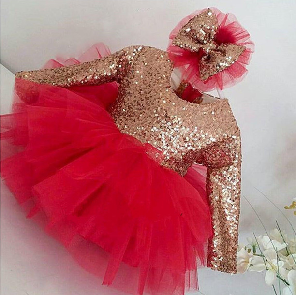 bling bling sequined infant girls long sleeve dress with bow red tulle girl cute baby 1st birthday party outfits with headpiecebling bling sequined infant girls long sleeve dress with bow red tulle girl cute baby 1st birthday party outfits with headpiece