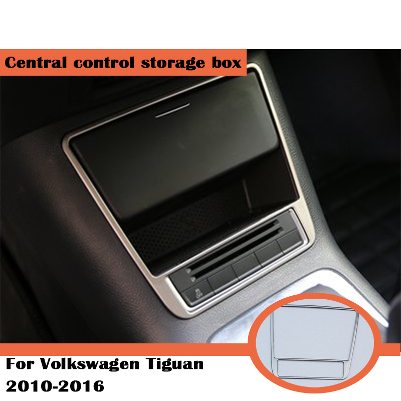 For Volkswagen Tiguan mk1 1 Accessories VW Tiguan 2010 2015 2016 Stainless Steel Center Storage Box Trim Cover Car Stickers Interior Mouldings     - title=
