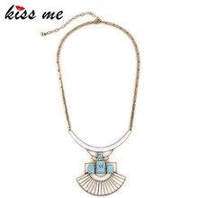 Kiss me marca collares joyería étnica único esmalte sintético piedra collar de cadena de hierro