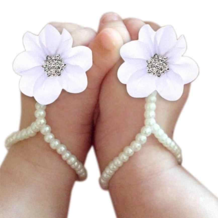 1 par de sandalias de playa de flor de pie de Chifón con perlas para bebé niña accesorios para el cabello bebek toka