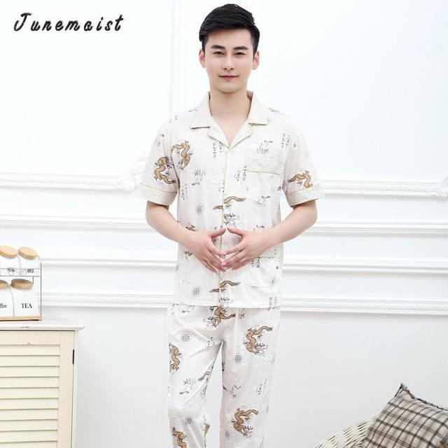 2016 New Arrival None Short Patchwork Turn-down Collar Casual Button Elastic Waist Regular Pajama Sets