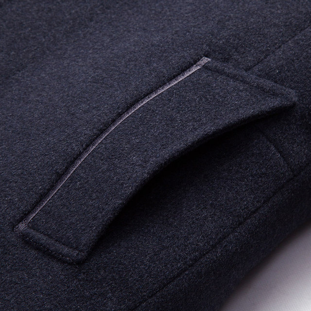 MUDI Wool Blends Men Coats Down Liner Detachable With 50% Wool Overcoat Mid-long Warm Male Jacket Slim Top Quality Coat Oversize 4